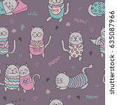 seamless pattern with cute... | Shutterstock .eps vector #635087966