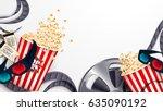 set popcorn 3d glasses... | Shutterstock .eps vector #635090192