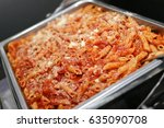 penne pasta with parmesan... | Shutterstock . vector #635090708