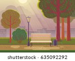 rainy summer day in the park.... | Shutterstock .eps vector #635092292