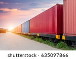 freight train with cargo... | Shutterstock . vector #635097866