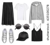 a set of fashionable clothes... | Shutterstock . vector #635100278