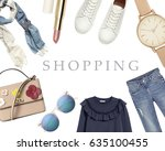 collection collage of women's... | Shutterstock . vector #635100455