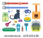 Stock vector colorful cat accessory cute vector animal icons pet equipment food domestic feline illustration 635102138