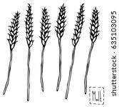 malt doodle sketsh. ears of... | Shutterstock .eps vector #635103095