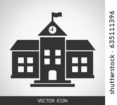 school vector icon on grey... | Shutterstock .eps vector #635111396