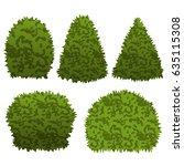 set of garden bushes.  isolated ... | Shutterstock .eps vector #635115308