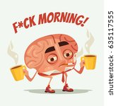 sleepy tired office worker... | Shutterstock .eps vector #635117555
