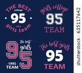 the best girls team college...   Shutterstock .eps vector #635117642