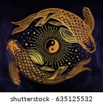 hand drawn ethnic fishes  carp  ... | Shutterstock .eps vector #635125532