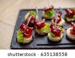 snacks and appetizers. spanish... | Shutterstock . vector #635138558