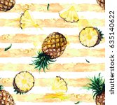 pineapples. watercolor seamless ...   Shutterstock . vector #635140622