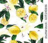 lemons. watercolor seamless... | Shutterstock . vector #635140646