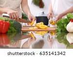 closeup of two women are... | Shutterstock . vector #635141342