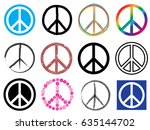 peace symbol icon set | Shutterstock .eps vector #635144702
