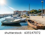 fishing harbor with boats of...   Shutterstock . vector #635147072