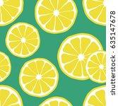 fresh lemons background  hand... | Shutterstock .eps vector #635147678
