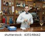 modern bar with bottles at... | Shutterstock . vector #635148662