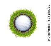 vector golf ball in the hole... | Shutterstock .eps vector #635150792