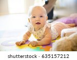 happy baby girl with blue eyes... | Shutterstock . vector #635157212