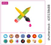 crossed pencil with paint brush ... | Shutterstock .eps vector #635158688