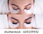 eyelash extension procedure.... | Shutterstock . vector #635159552