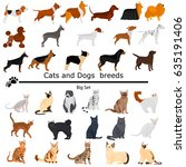 dogs and cats set color flat...   Shutterstock .eps vector #635191406