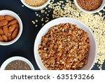 homemade granola in white bowl...   Shutterstock . vector #635193266