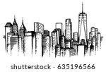 nyc skyline sketch  hand drawn...
