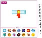 diploma flat icon | Shutterstock .eps vector #635203325