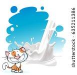 painted milk splash design with ... | Shutterstock .eps vector #635211386