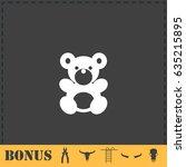 teddy bear icon flat. simple... | Shutterstock . vector #635215895
