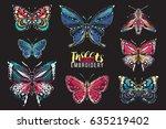 set of embroidery butterflies... | Shutterstock .eps vector #635219402