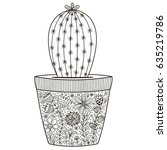 doodle cactus in the pot with... | Shutterstock .eps vector #635219786