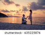 romantic marriage proposal on... | Shutterstock . vector #635225876