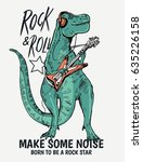 rock star dinasour illustration ... | Shutterstock .eps vector #635226158