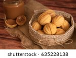 homemade cookies shaped nuts... | Shutterstock . vector #635228138