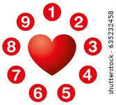 heart numbers circle.... | Shutterstock .eps vector #635232458