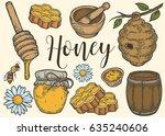honey jar  barrel  spoon  bee ... | Shutterstock .eps vector #635240606