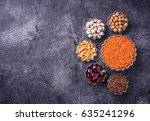 various legumes. chickpeas  red ... | Shutterstock . vector #635241296