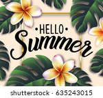 hello summer realistic leaf... | Shutterstock .eps vector #635243015