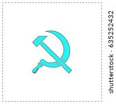 hammer and sickle. blue simple... | Shutterstock . vector #635252432