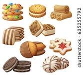set of delicious cookies.... | Shutterstock .eps vector #635255792