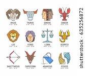 zodiac signs  | Shutterstock .eps vector #635256872