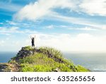 Small photo of Male hiker celebrating on a mountain peak overlooking the ocean. Healthy active lifestyle concept.