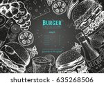 burgers and ingredients for... | Shutterstock .eps vector #635268506