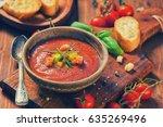 fresh cold gazpacho soup  | Shutterstock . vector #635269496