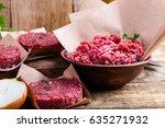 organic raw ground beef meat... | Shutterstock . vector #635271932