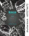 burgers and ingredients vector... | Shutterstock .eps vector #635276672