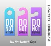 do not disturb sign. hotel door ... | Shutterstock .eps vector #635279345